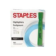 Staples Hype Tank Highlighters, Chisel Tip, Green, Dozen (28559)