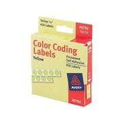 "Avery Hand Written Color Coding Labels, 1/4"" Dia., Yellow, 450/Sheet, 1 Sheet/Pack (5792)"