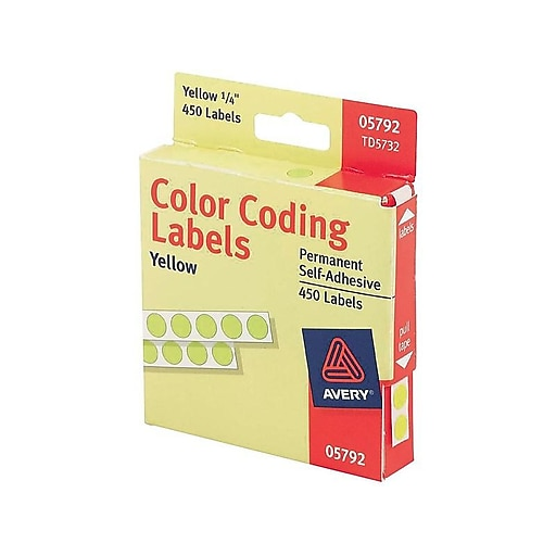 """Avery Hand Written Color Coding Labels, 1/4"""" Dia., Yellow, 450/Sheet, 1 Sheet/Pack (5792)"""