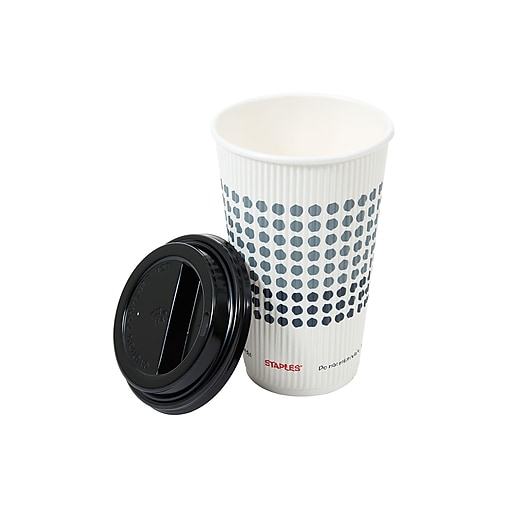 Staples Combo Pack Hot Cups & Lids, 16 Oz., Multicolor, 24/Pack (50617)
