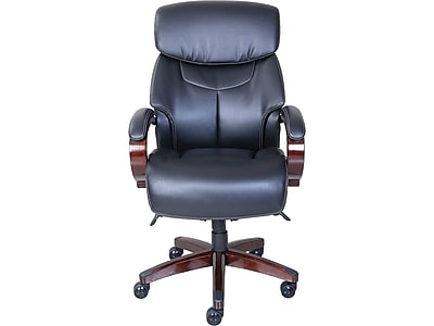 La Z Boy Bradley Leather Executive Office Chair Fixed Arms Black