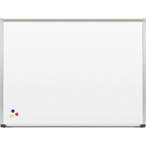 MooreCo Porcelain Dry-Erase Whiteboard, Anodized Aluminum Frame, 3' x 4' (202AC)