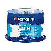 Verbatim 98473 52x CD-R, White Inkjet Printable, Hub Printable, 50/Pack