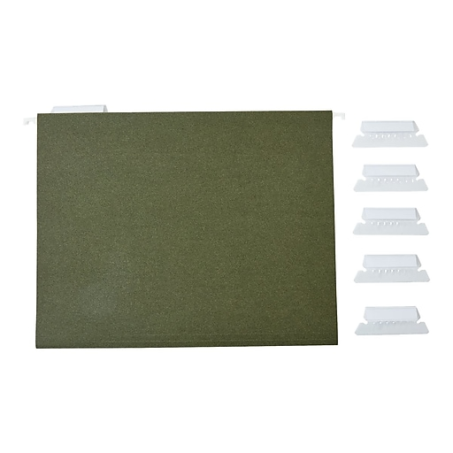 Staples Hanging File Folders, 5-Tab, Letter Size, Green, 50/Box (266262)