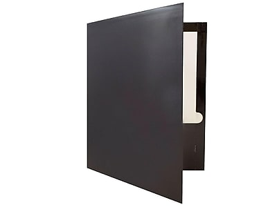 JAM Paper 2-Pocket Presentation Folders, Black Glossy, 100/Box (385GBL)