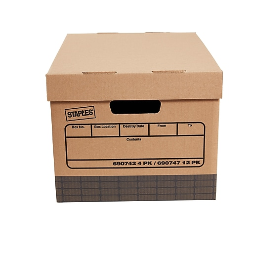 Staples Medium Duty Corrugated Boxes, Letter/Legal Size, Brown, 12/Carton  (2489301)