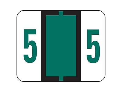 Smead BCCRN Color Coded Numeric Labels, 5, Dark Green, 500/Roll (67375)