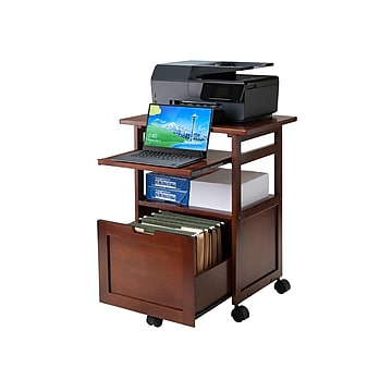 Winsome Piper 3-Shelf Wood Mobile Printer Stand, Brown (94427)