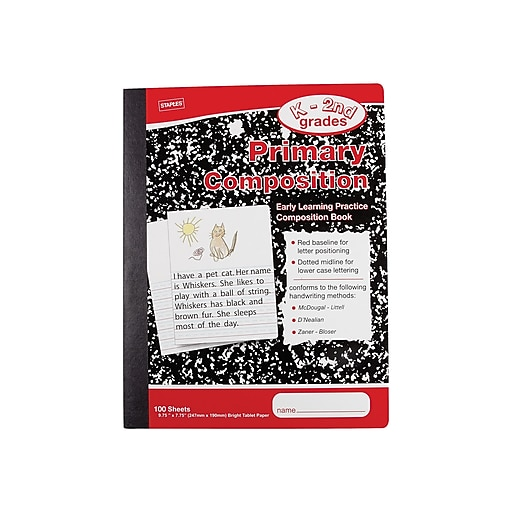 """Staples Primary Composition Notebooks (K - 2nd), 7.5"""" x 9.75"""", Law Ruled, 100 Sheets, Multicolor, 12/Carton (42079CT)"""