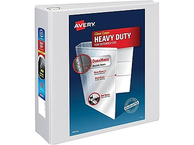 "Avery Heavy-Duty 4"" 3-Ring View Binder, White (79104)"