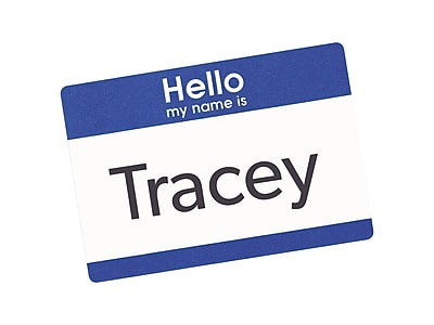 Avery Sticker Name Tags/Labels, White with Blue Border, 100/Pack (5141)