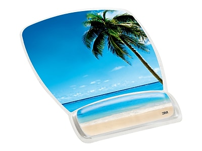3M Gel Mouse Pad/Wrist Rest Combo, Beach Design (MW308BH)