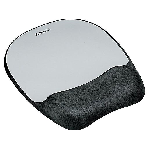 Fellowes Foam Mouse Pad/Wrist Rest Combo, Black/Silver Streak (9175801)
