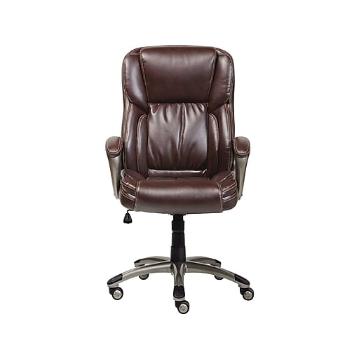 Serta Leather Computer And Desk Office Chair Fixed Arms Biscuit Brown 43520 Staples