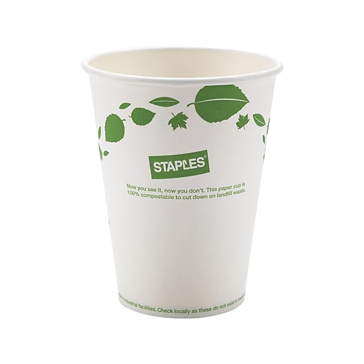 Sustainable Earth by Staples Hot Cups, 12 oz , White/Green, 500/Carton  (SEB40148-CC)
