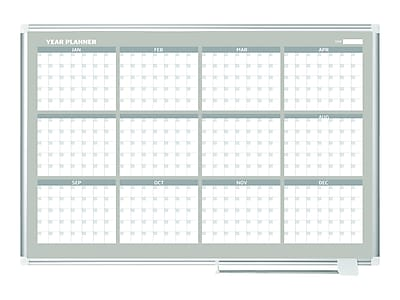 MasterVision Gold Ultra Magnetic Lacquered Steel Planning Board, Aluminum Frame, 4' x 3' (GA05106830)