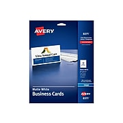 """Avery Inkjet Business Cards, 3.5""""W x 2""""L, Matte White 250/Pack (8371)"""