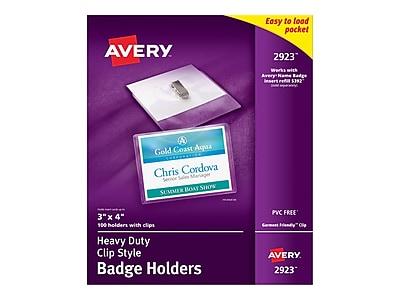 Avery ID Badge Holders, Clear, 100/Box (2923)