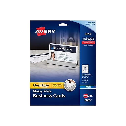 Avery® Clean Edge Inkjet Two Side Printable Business Cards