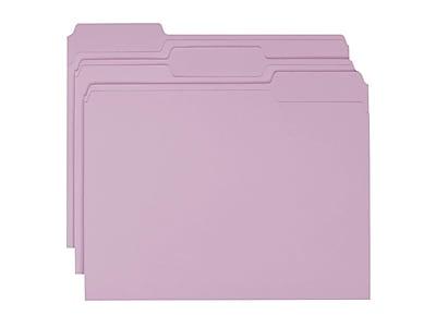 Smead File Folders, 1/3-Cut Tab, Letter Size, Lavender, 100/Box (12443)