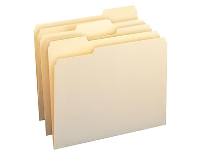 Smead WaterShed/CutLess File Folders, 1/3-Cut Tab, Letter Size, Manila, 100/Box (10343)