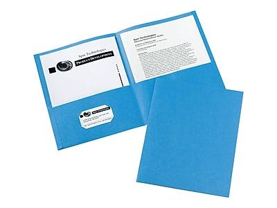 Avery 2-Pocket Portfolio Folders, Light Blue, 25/Box (47986)