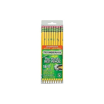Ticonderoga The World's Best Pencil Wooden Pencils, No. 2 Soft Lead, 18/Pack (13818)