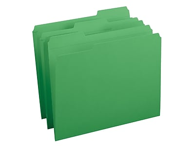 Smead File Folders, Reinforced 1/3-Cut Tab, Letter Size, Green, 100/Box (12134)