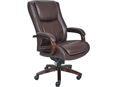 La Z Boy Winston Leather Executive Office Chair Fixed Arms Brown