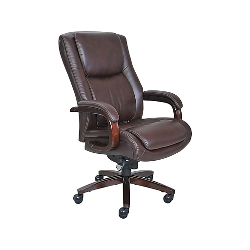 La Z Boy Winston Leather Executive Office Chair Fixed Arms Brown 44763 At Staples