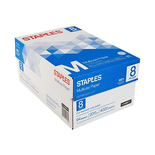 "Staples Multiuse 8.5"" x 11"" Multipurpose Paper, 20 lbs., 94 Brightness, 500/Ream, 8 Reams/Carton (26860-CC)"