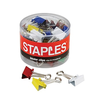 """Staples 0.75"""" Binder Clips, Small, Assorted Colors, 36/Pack (15343)"""