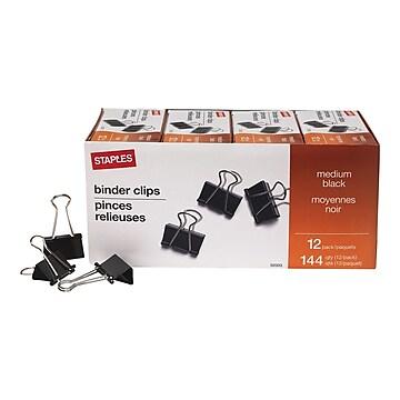 Staples Medium Binder Clips, Medium, Black, 144/Pack (32003)