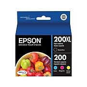 Epson T200XL/200 Black/Color Ink Cartridges, Standard Yield 4/Pack (T200XL-BCS)