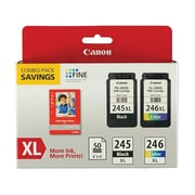 Canon PG 245 XL/CL-246XL Combo with GP-502 Black/Color Ink Cartridge, High Yield (8278B005)