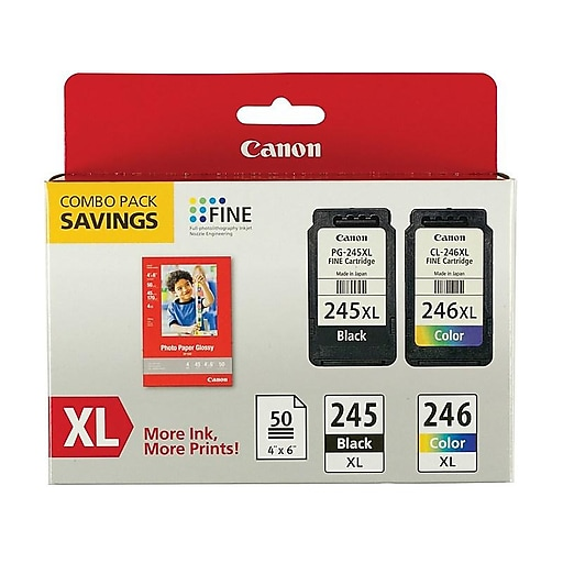 Canon PG 245 XL/CL 246XL Combo with GP-502 Black/Color Ink Cartridge, High Yield (8278B005)