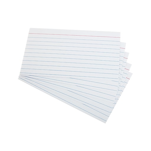 "Staples Heavyweight Ruled 3"" x 5"" Index Cards, White, 100/Pack (51013)"