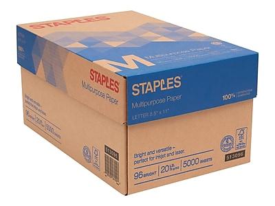 "Staples 8.5"" x 11"" Multipurpose Paper, 20 lbs, 96 Brightness, 5000/Carton (513096-BL)"