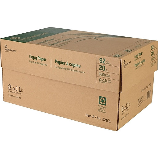 """Sustainable Earth by Staples 8.5"""" x 11"""" Copy Paper, 20 lbs, 92 Brightness, 500/Ream, 10 Reams/Carton (22101)"""