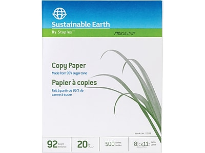 "Sustainable Earth by Staples 8.5"" x 11"" Copy Paper, 20 lbs, 92 Brightness, 500/Ream (22198)"