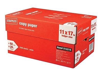 "Staples 11"" x 17"" Copy Paper, 20 lbs., 92 Brightness, 500/Ream, 5 Reams/Carton (512215)"