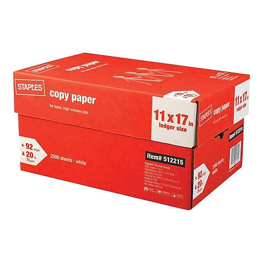 "Staples 11"" x 17"" Copy Paper, 20 lbs., 92 Brightness, 500/Ream, 5 Reams/Carton (512215)"