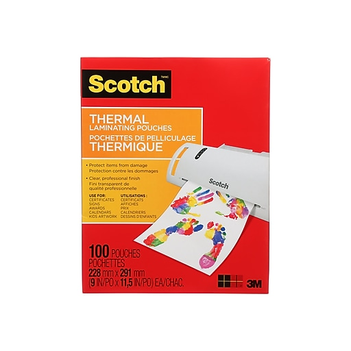 Scotch Thermal Laminating Pouches Letter Size 3 Mil 100 Pouches Pack Tp3854 100 At Staples