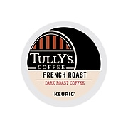 Tully's French Roast Decaf Coffee, Keurig® K-Cup® Pods, Dark Roast, 24/Box (192419)