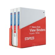"1"" Staples® Heavy-Duty View Binder with Slant-D™ Rings, White, 6-pack, Tear-away Carton"
