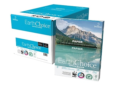 """Domtar EarthChoice 8.5"""""""" x 11"""""""" Multipurpose Paper, 20 lbs., 92 Brightness, 500/Ream, 10 Reams/Carton..."""