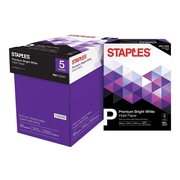 "Staples Premium 8.5"" x 11"" Multipurpose Paper, 24 lbs., 98 Brightness, 500 Sheets/Ream, 5 Reams/Carton (733330)"