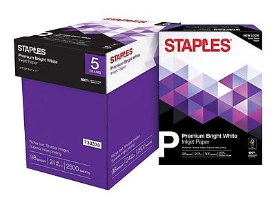 """Staples Premium 8.5"""" x 11"""" Multipurpose Paper, 24 lbs., 98 Brightness, 500/Ream, 5 Reams/Carton (733330)"""