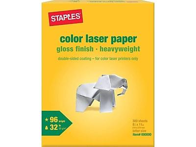 "Staples 8.5"" x 11"" Laser Paper, 32 lbs., 96 Brightness, 300/Pack (86048)"