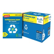 "Staples 50% Recycled 8.5"" x 11"" Multipurpose Paper, 24 lbs., 96 Brightness, 500/Ream, 10 Reams/Carton (86059)"